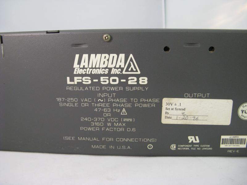 Synrad DC Laser Power Supply 3000 watts Lambda LFS-50-28. Warranty.